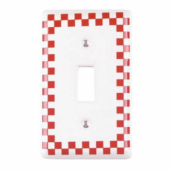 <PRE>Switch Plate Red Porcelain Checkered Single Toggle </PRE>zoom1
