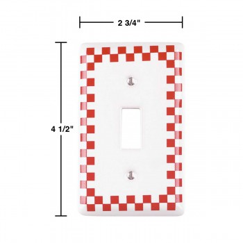 spec-<PRE>Switch Plate Red Porcelain Checkered Single Toggle </PRE>
