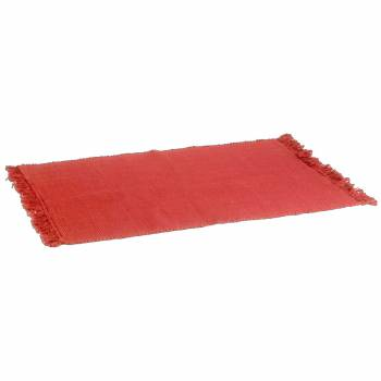 Rectangular Area Rug 6' x 4' Red Cotton 65080grid
