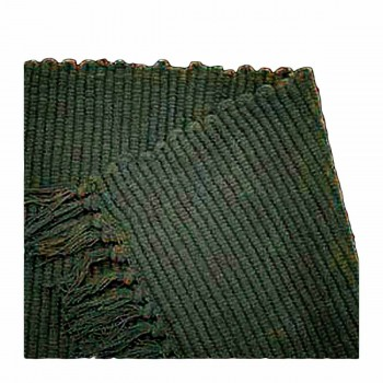 Rectangular Area Rug 9' x 6' Green Cotton 65085grid