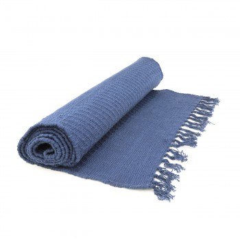 <PRE>Rectangular Area Rug 9' x 6' Blue Cotton </PRE>zoom3