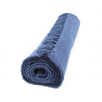 <PRE>Rectangular Area Rug 9' x 6' Blue Cotton </PRE>zoom4