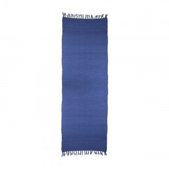 Rectangular Area Rug 9' x 6' Blue Cotton 65086grid