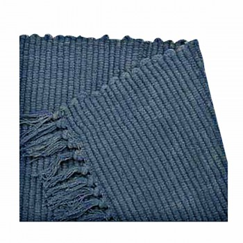 Prairy Style Rug 30 x 96 Fringed Reversible Navy Hand Loomed Cotton