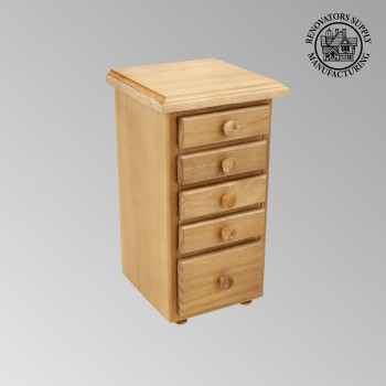 spec-<PRE>Kitchen Spice Chest Unfinished Pine 5 Drawer </PRE>