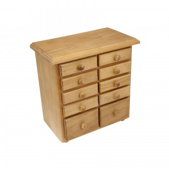 <PRE>Kitchen Spice Chest Unfinished Pine 10 Drawer </PRE>