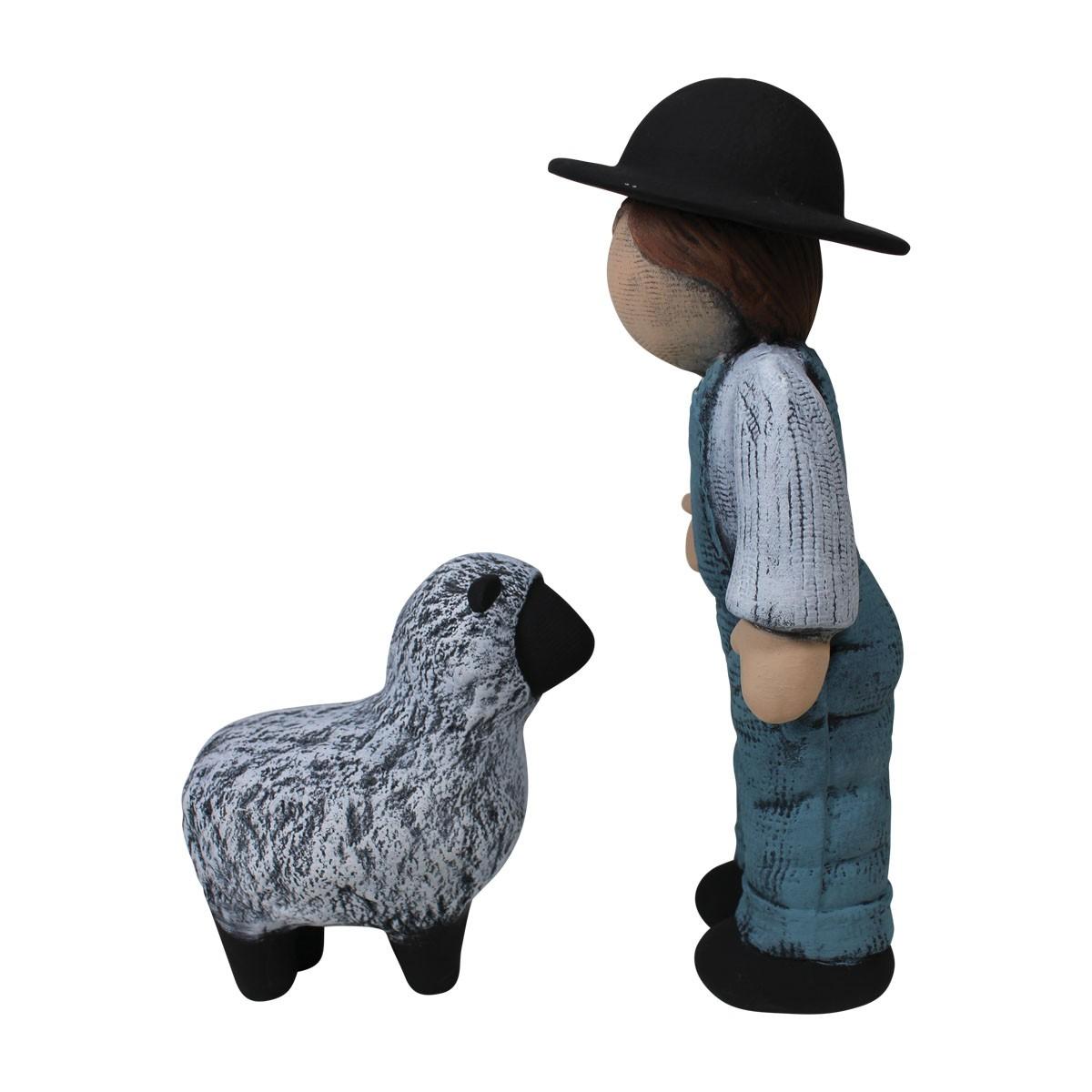 Boy and Sheep Figurine Blue Ceramic 8 34H Figurines Figurine Ceramic Figurines