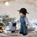 Boy and Sheep Figurine Blue Ceramic 8 3/4