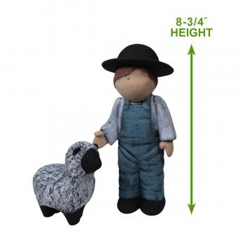 """spec-<PRE>Boy and Sheep Figurine Blue Ceramic 8 3/4""""H </PRE>"""