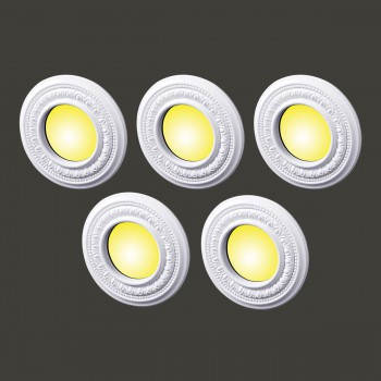"<PRE>5 Spot Light Ring White Trim 4inch ID x 8"" OD Mini Medallion Set of 5 </PRE>zoom2"