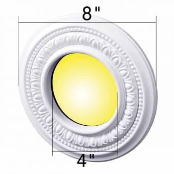 "spec-<PRE>5 Spot Light Ring White Trim 4"" ID x 8"" OD Mini Medallion Set of 5 </PRE>"