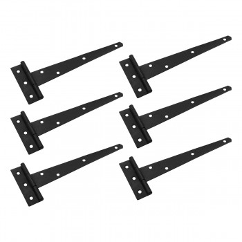 <PRE>T Strap Door Hinge Black Iron RSF Finish Light Duty 9inch Set of 6</PRE>zoom1