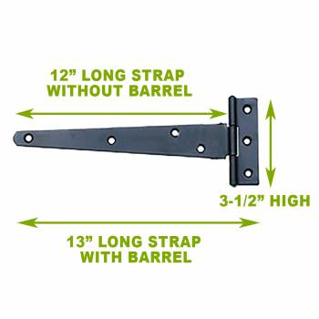 "spec-<PRE>T Strap Door Hinge Black RSF Iron 13"" Pack of 3 </PRE>"
