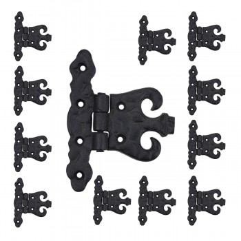 Wrought Iron Cabinet Hinge Black Rustproof Pack of 12