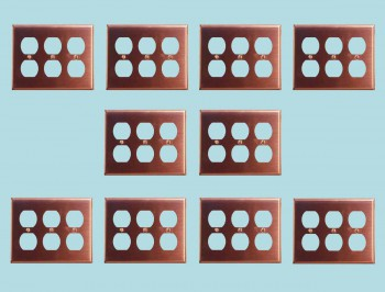 10 Switchplate Brushed Solid Copper Triple Outlet Switch Plate Wall Plates Switch Plates