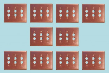 <PRE>10 Switchplate Brushed Solid Copper Triple Pushbutton </PRE>zoom2