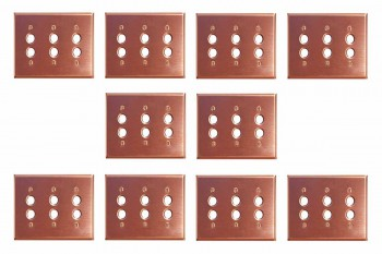 10 Switchplate Brushed Solid Copper Triple Pushbutton Switch Plate Wall Plates Switch Plates