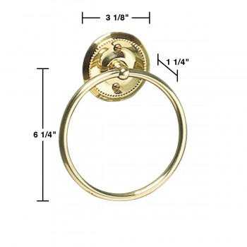 "spec-<PRE>Solid Brass Towel Ring 61/4"" D </PRE>"