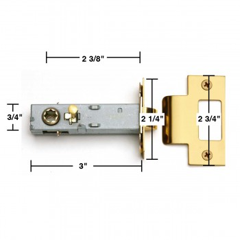 "spec-<PRE>Reversible Brass Door Latch Set - Easy Install - Privacy Pin - 2-3/8"" Strike Plate Accepts Square Sp</PRE>"