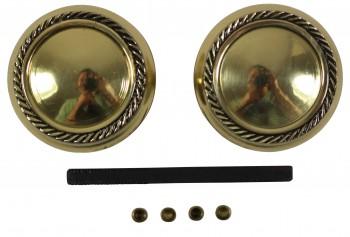 <PRE>Pair Bright Solid Brass Braided Door Knob Brass Shanks </PRE>zoom4