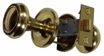Pair Bright Solid Brass Braided Door Knob Brass Shanks 66035grid