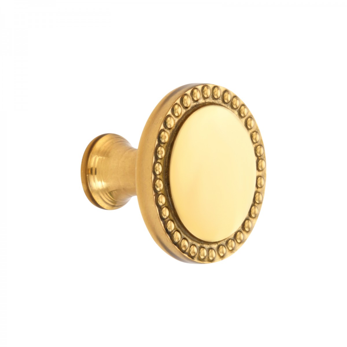 cabinet knob bright solid brass beaded 1 1 2 dia brass cabin