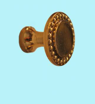 <PRE>Vintage Cabinet Knob Bright Solid Brass Beaded 1inch Dia </PRE>zoom2