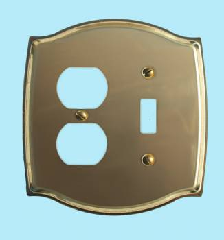 <PRE>Switchplate Bright Solid Brass Toggle/Outlet </PRE>zoom2