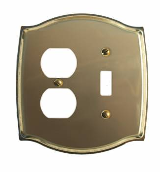 <PRE>Switchplate Bright Solid Brass Toggle/Outlet </PRE>zoom1
