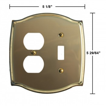 spec-<PRE>Switchplate Bright Solid Brass Toggle/Outlet </PRE>