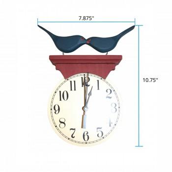 spec-<PRE>Bluebird Clock Blue/Red Wood </PRE>