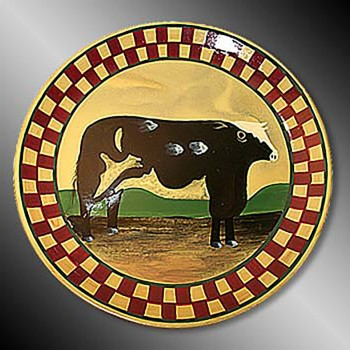 <PRE>Collector Plates Ceramic Brown Cow Dinner Plate Handpainted </PRE>zoom3