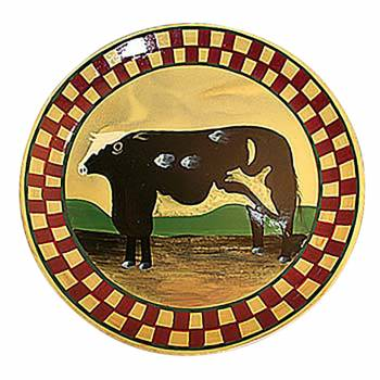 Collector Plates Ceramic Brown Cow Dinner Plate Handpainted