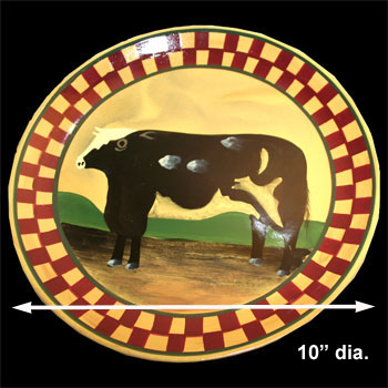 spec-<PRE>Collector Plates Ceramic Brown Cow Dinner Plate Handpainted </PRE>