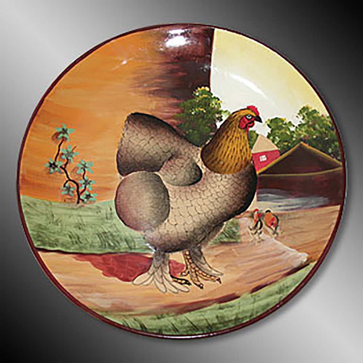 Collector Plates Brown Hen Handpainted Stoneware Plate 10 Collector Plate Collector Plates Ceramic Collector Plates