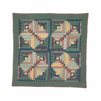 <PRE>Throw Green Log Cabin Design Blanket </PRE>