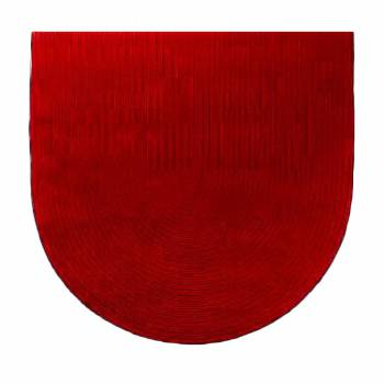 Oval Area Rug 6' x 4' Red Cotton 666440grid