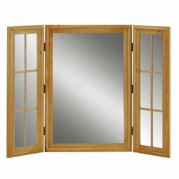 Vintage Vanity Mirror Triple Windowpane Country Pine 667096grid