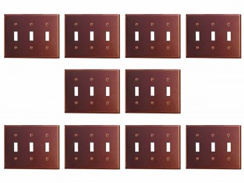 10 Switchplate Brushed Solid Copper Triple Toggle Switch Plate Wall Plates Switch Plates