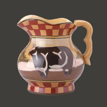<PRE>Hand Painted Display Pitcher Stoneware Cow Tan Brick </PRE>zoom2