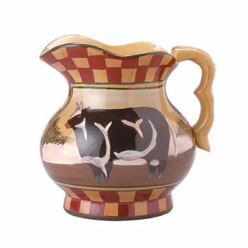 <PRE>Hand Painted Display Pitcher Stoneware Cow Tan Brick </PRE>zoom1