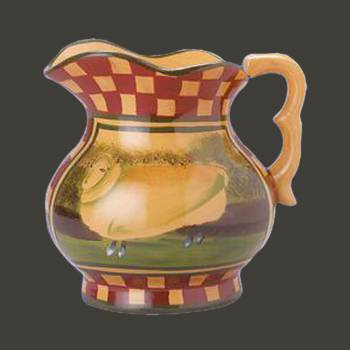 <PRE>Hand Painted Display Pitcher Stoneware White Sheep </PRE>zoom2