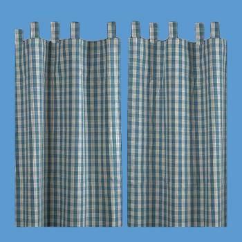 Curtains Blue 100% Cotton Panels 84 x 90 Window Curtain Curtain Curtains