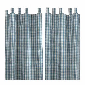 Curtains Blue 100% Cotton Panels 84