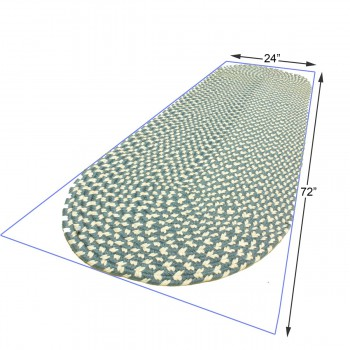 spec-<PRE>Oval Area Rug 6' x 2' Blue Nylon </PRE>