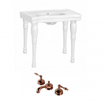 Renovator's Supply White Console Sink Belle Combo Set with Faucet66831grid