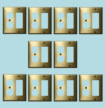 <PRE>10 Switchplate Brushed Solid Brass Outlet GFI </PRE>zoom2