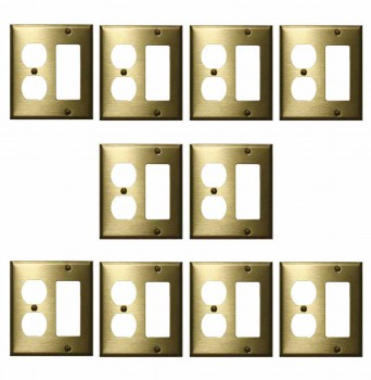 <PRE>10 Switchplate Brushed Solid Brass Outlet GFI </PRE>zoom1