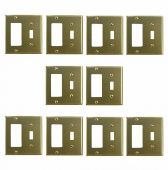 10 Switchplate Brushed Brass GFI Toggle Switch Plate Wall Plates Switch Plates