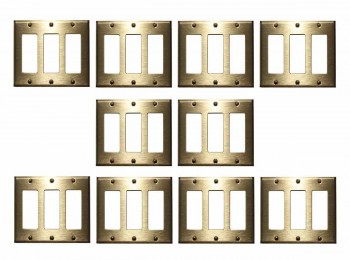10 Switchplate Brushed Solid Brass Triple GFI Switch Plate Wall Plates Switch Plates